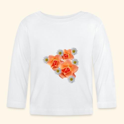 lachsfarbene Rosen und Margeriten, Blumen, floral - Baby Langarmshirt