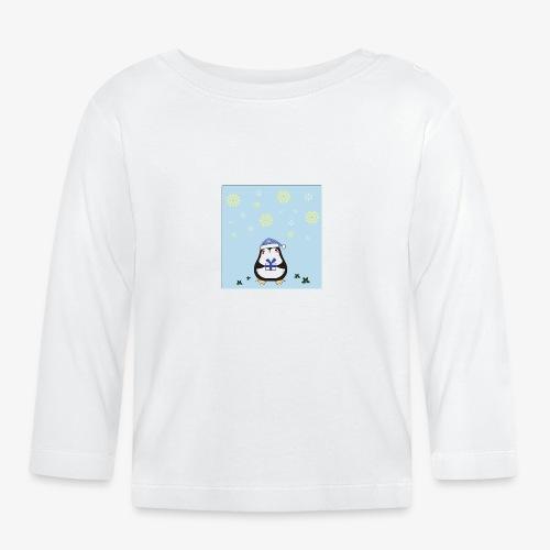 pingouin de Noel sur fond bleu - T-shirt manches longues Bébé