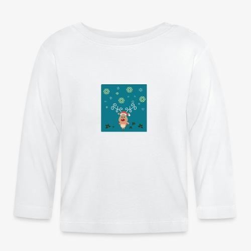 petit cerf fond bleu - T-shirt manches longues Bébé