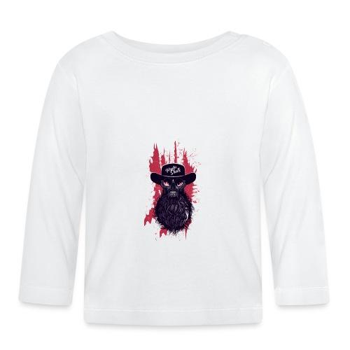 tete de mort hipster skull barbu moustache crane f - T-shirt manches longues Bébé
