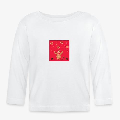 pere noel sur fond rouge et flocon - T-shirt manches longues Bébé