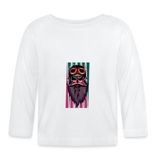 tete de mort hipster crane slull barbe moustache p - T-shirt manches longues Bébé