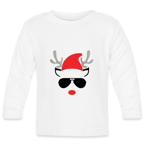 Cute Christmas Reideer with glasses for boys - Baby Long Sleeve T-Shirt
