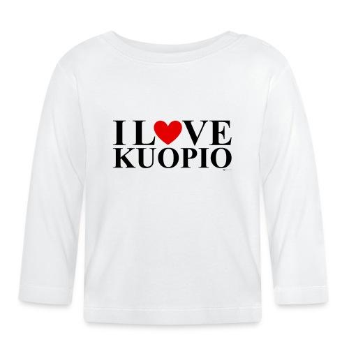I LOVE KUOPIO (koko teksti, musta) - Vauvan pitkähihainen paita