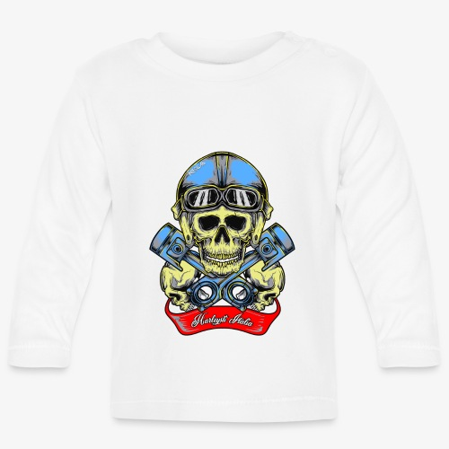 Teschio con casco vintage e pistoni - By Mescal - Maglietta a manica lunga per bambini