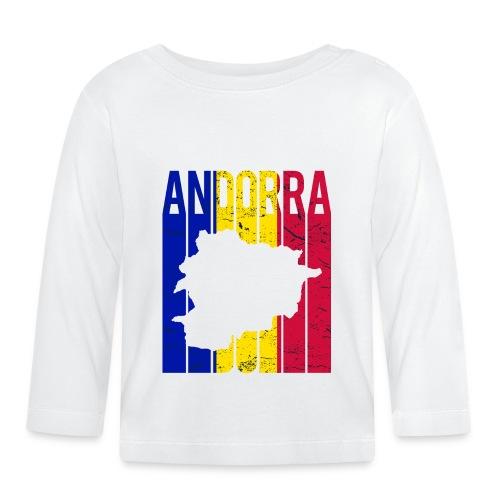 stretched flag of Andorra t-shirt design map - Maglietta a manica lunga per bambini