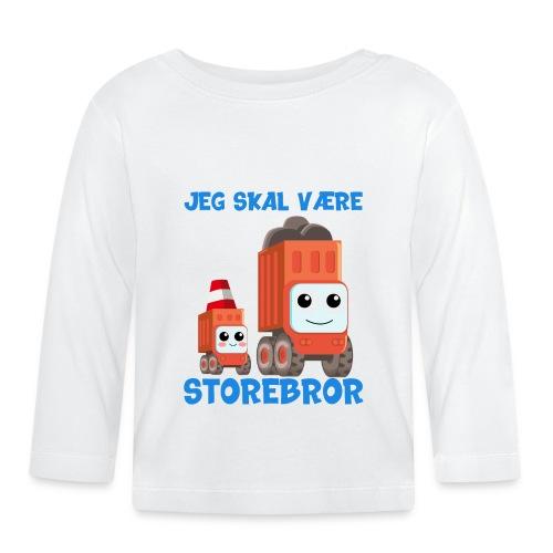 Jeg skal være storebror gave lastbil byggeplads - Langærmet babyshirt