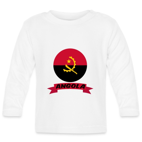 flag of Angola t shirt design ribbon banner - Maglietta a manica lunga per bambini