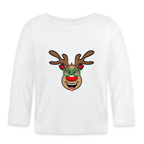 Weihnachten Rudi mit Brille - Baby Langarmshirt