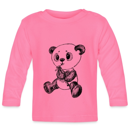 Panda Bär schwarz scribblesirii - Baby Langarmshirt