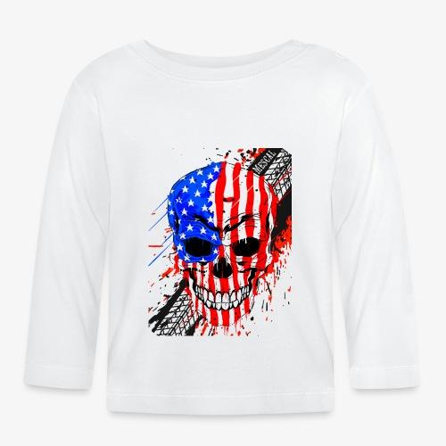 Teschio USA su splatter gomma moto by Mescal - Maglietta a manica lunga per bambini