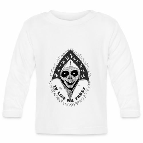 Grimp reaper with text IN LIFE WE TRUST b&w - T-shirt manches longues Bébé