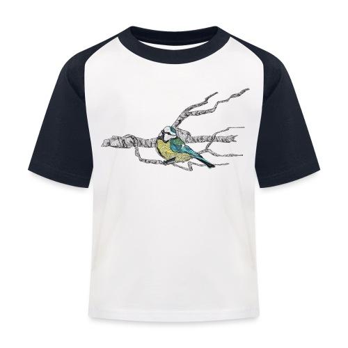 Blaumeise auf Ast - Kinder Baseball T-Shirt