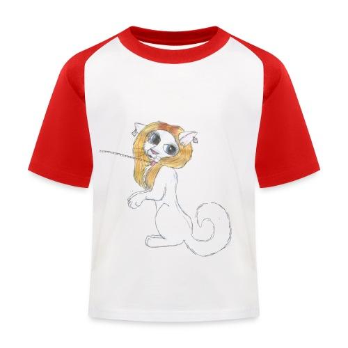 Comic Katze - Kinder Baseball T-Shirt