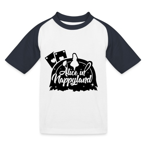 Alice in Nappyland TypographyWhite with background - Kids' Baseball T-Shirt