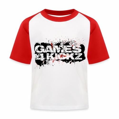 Games4Kickz Logo Splattered Background - Kids' Baseball T-Shirt
