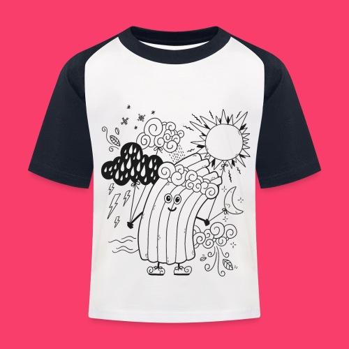Rudi Regenbogen Wetter-Motiv zum Ausmalen - Kinder Baseball T-Shirt