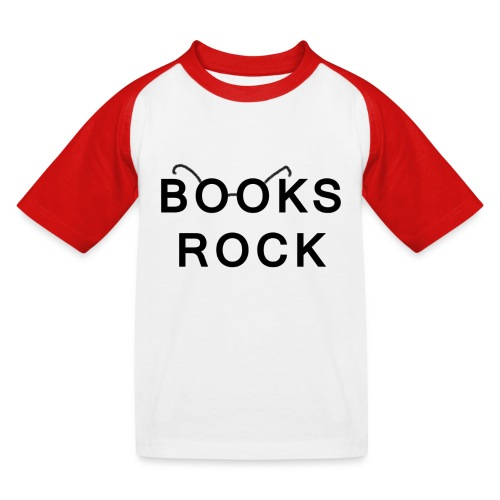 Books Rock Black - Kids' Baseball T-Shirt