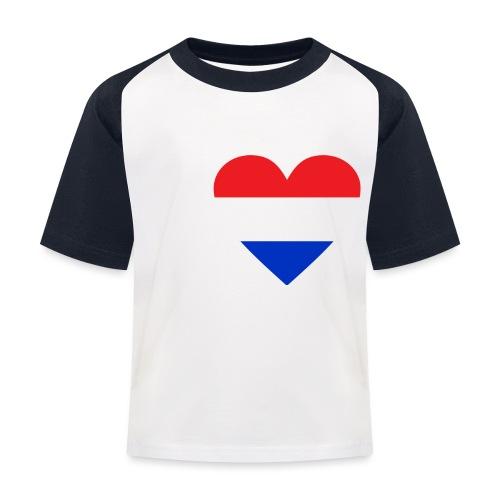 Ik hou van Nederland | Hart met rood wit blauw - Kinderen baseball T-shirt