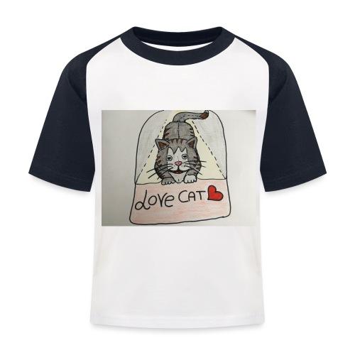 Love cat - Maglietta da baseball per bambini