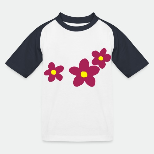 Three Flowers - Kids' Baseball T-Shirt