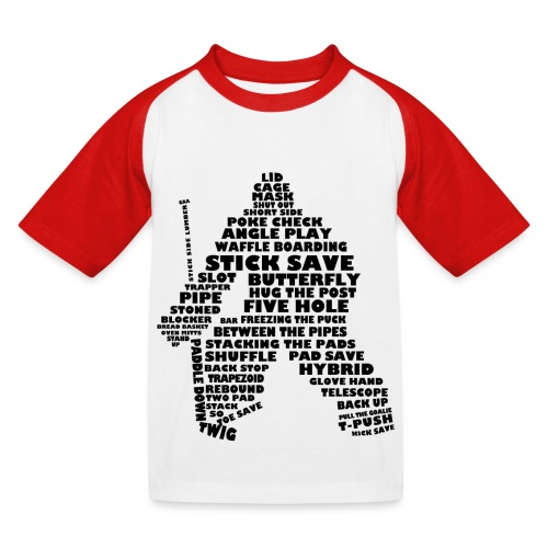 Language of Hockey (Goalie version, black print) - Kids' Baseball T-Shirt