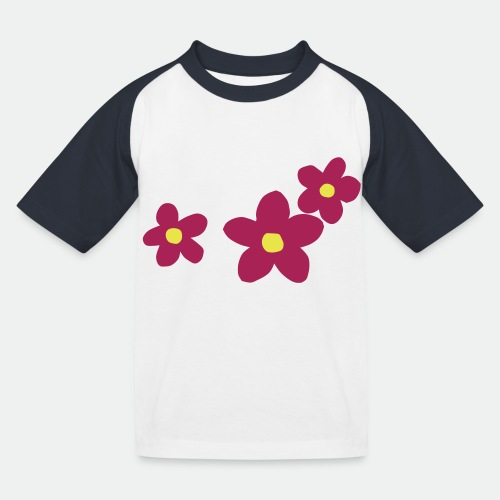 Three Flowers - Kids' Baseball T-Shirt