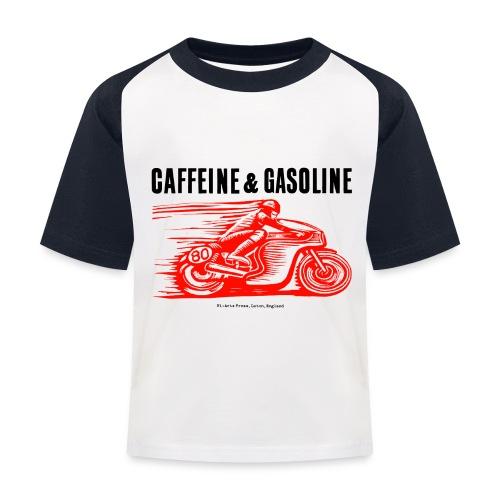 Caffeine & Gasoline black text - Kids' Baseball T-Shirt