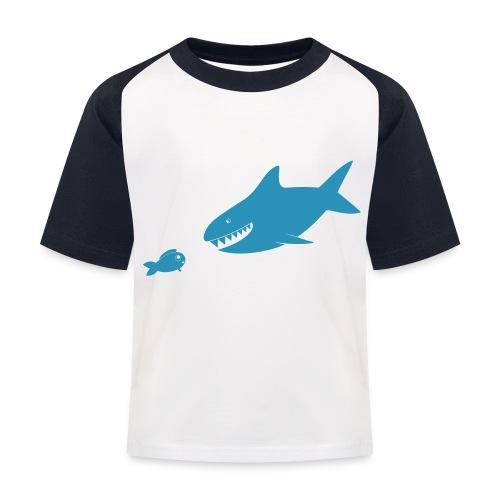 Kleiner Fisch + Hai / dunkler Hintergrund - Kinder Baseball T-Shirt