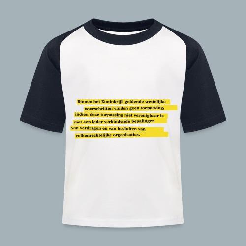 Nederlandse Grondwet T-Shirt - Artikel 94 - Kinderen baseball T-shirt