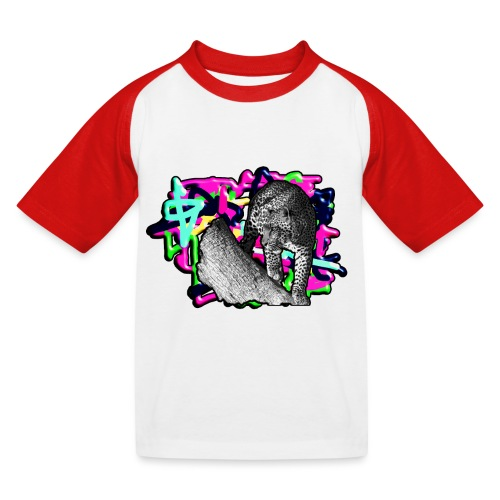 Leopard auf Bunt - Kinder Baseball T-Shirt