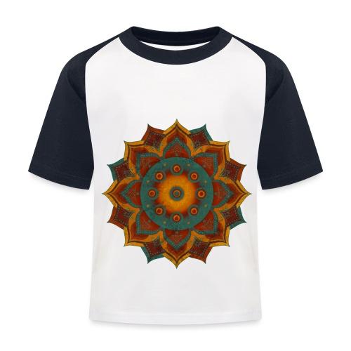 HANDPAN hang drum MANDALA teal red brown - Kinder Baseball T-Shirt