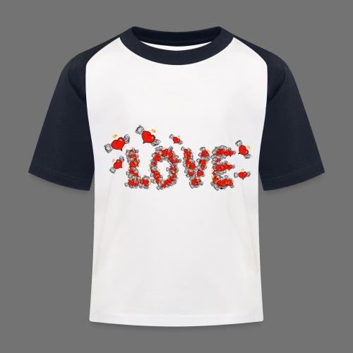 Flying Hearts LOVE - Kids' Baseball T-Shirt