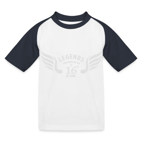 Legends are born on the 16th of june - Kinderen baseball T-shirt