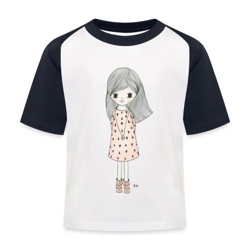 meisje met roze jurk - Kinderen baseball T-shirt