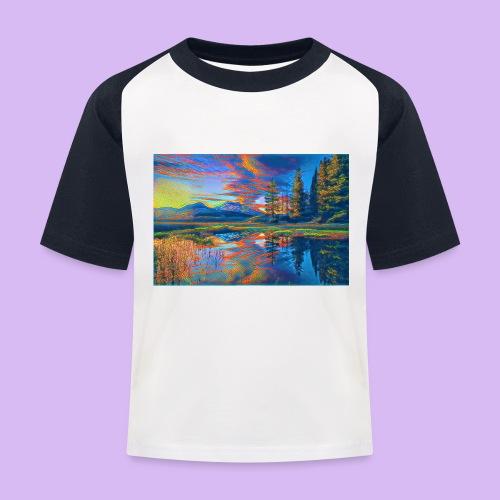 Paesaggio al tramonto con laghetto stilizzato - Maglietta da baseball per bambini