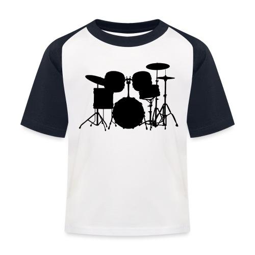 Drumset 1 Kontur schwarz - Kinder Baseball T-Shirt