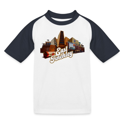 East Finchley Retro Montage - Kids' Baseball T-Shirt