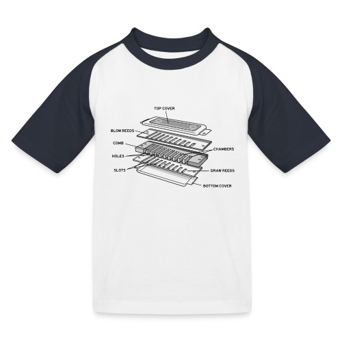 Exploded harmonica - black text - Kids' Baseball T-Shirt