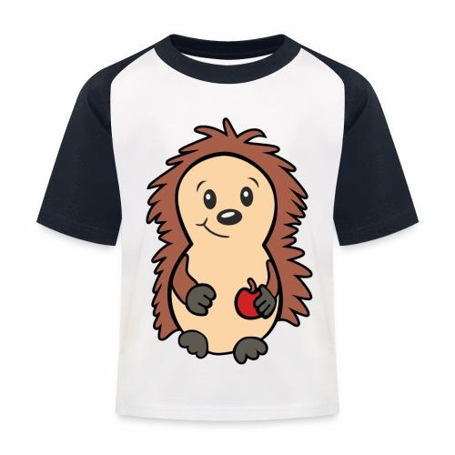Igel mit Apfel in der Hand - Kinder Baseball T-Shirt