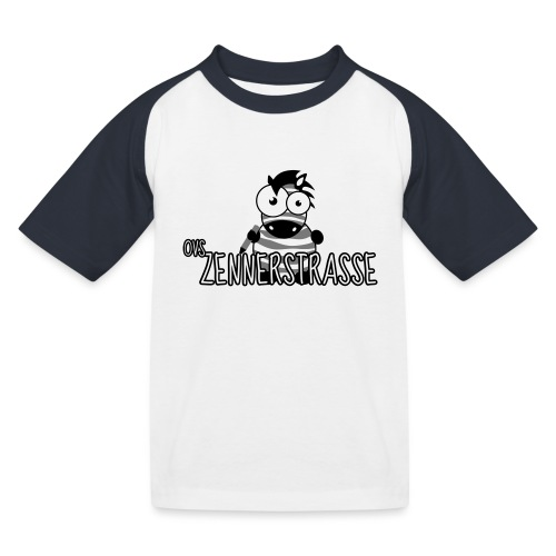 Zebra SW weiss - Kinder Baseball T-Shirt