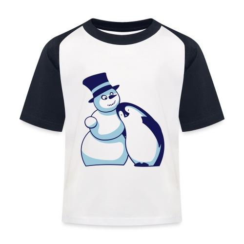Schneemann und Pinguin - Kinder Baseball T-Shirt