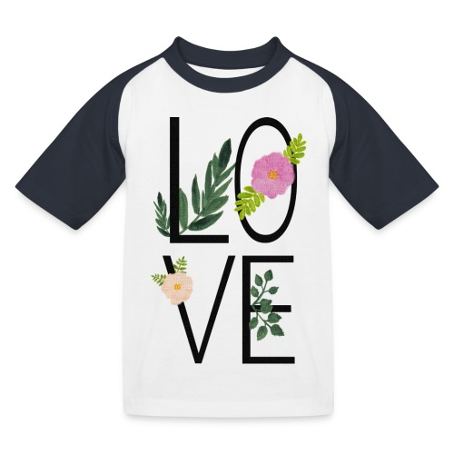 Love Sign with flowers - Kids' Baseball T-Shirt