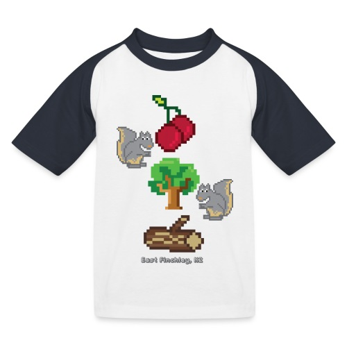 8 Bit Style Cherry Tree Wood Graphic - Kids' Baseball T-Shirt