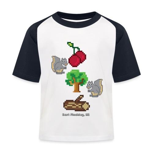8 Bit Style Cherry Tree Wood Graphic - Kids' Baseball T-Shirt