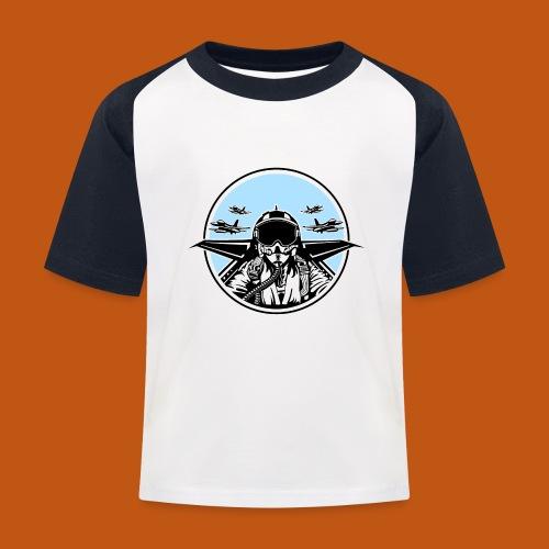 Jet Pilot / Kampfpilot 01_weiß Schwarz - Kinder Baseball T-Shirt