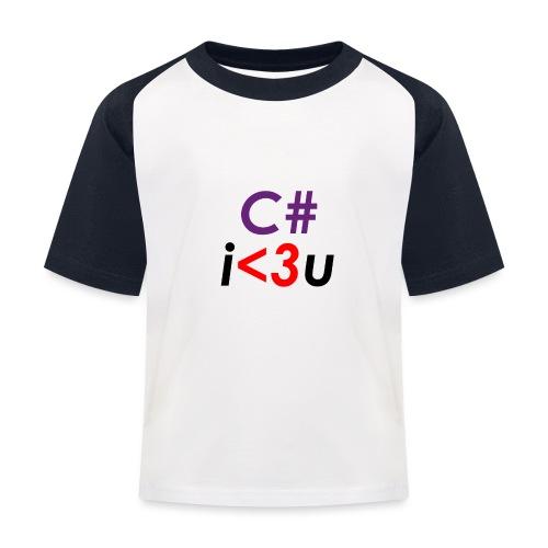 C# is love - Maglietta da baseball per bambini