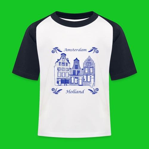 Holland Grachtenpanden Delfts Blauw - Kinderen baseball T-shirt