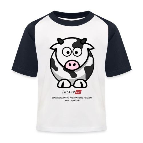 REGA-TV: Kuh, schwarzer Text - Kinder Baseball T-Shirt