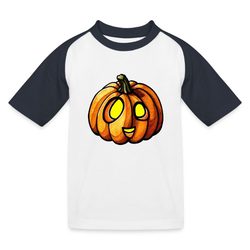 Pumpkin Halloween watercolor scribblesirii - Baseball T-shirt til børn